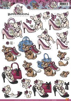 3D Knipvel - Yvonne Creations - Glamour hondjes