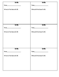 Exit Slips for factors, multiples, prime, and composite (CCSS - 4.OA.4).