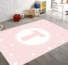 Pink Nursery Rug Monogram Personalized Monogrammed Gifts Playroom Kids Decor Baby