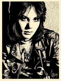 Joan Jett poster by Shepard Fairey and SVA alumnus Chris Stein