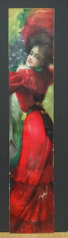 ORIGINAL 1907 PABST EXTRACT YARD LONG PRINT -BEAUTIFUL LADY IN RED DRESS- BRYSON #Realism