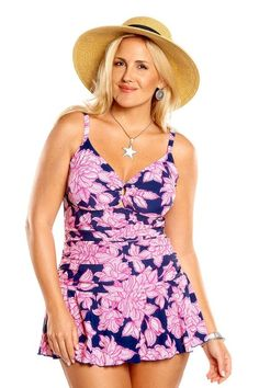 In full bloom -you will look and feel your best wearing this slimming plus size swimsuit by AlwaysForMe. This classic swimdress has a sexy v-neckline with full control lining and ruchings on the front for curve flattering midsection.