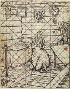 Harold Gilman, Interior with a Woman Sewing, 1913 (study for 'Norwegian Interior') Walter Sickert, Stanley Spencer, Frank Auerbach, Francisco Goya, Camden Town, Edouard Vuillard, David Hockney, Drawing Practice, Whistler