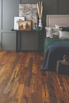 Woodworks by Ted Todd's Dark Colonial Teaks available as random-width planks which can measure up to 2.2m in length, from £356.34 per sq m. | #homedesign #interiorinspo #renovation #homedecorideas #dreamhome #homeremodel #interiordesign #pastelbedroom #bedroomflooring #bedroomflooringideas #vinylflooring #decoratingideas #kbbmag Renovations, Flooring, Home Remodeling, Pastel Bedroom, Interior Inspo, Bedroom, Bedroom Flooring, Home Decor, Room