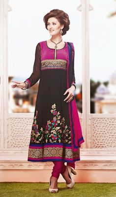 Black and Pink Georgette Embroidered Anarkali Churidar Suit Price: Usa Dollar $195, British UK Pound £115, Euro143, Canada CA$210 , Indian Rs10530.