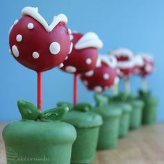 Super Mario Bros. Piranha Plant Cake Pops