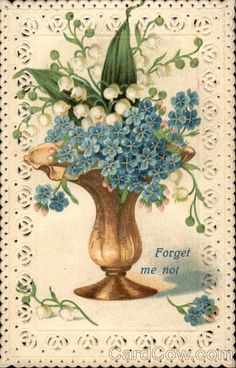Forget-Me-Not Flowers Die Cut/vintage postcard