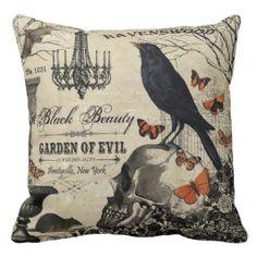modern vintage halloween crow and skull throw pillow