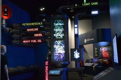 at the Perot Museum of Nature and Science in Dallas, Texas  LED lights (or something simulated) and info panels
