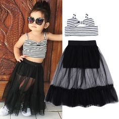 CANIS Set Girls Kids Baby Bownot Stripe Tops+Tulle Skirt Outfits Clothes - Ropa de niñas y niños - Little Girl Fashion, Toddler Fashion, Kids Fashion, Style Fashion, Little Girl Dresses, Girls Dresses, Tutu Dresses, Dresses For Children, Children Clothes