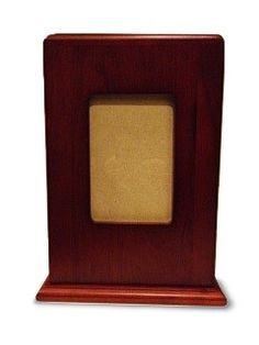 Adult mantle piece photo frame wooden cremation urn. These urns fit the plastic ash box directly into the urn. (http://www.casketsdirect.com.au/products/wooden-photo-urn-fits-ash-box.html)