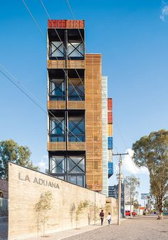 Located in Leon, Mexico. La Aduana is an eight-unit apartment building made from 36 shipping containers.