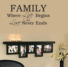 Family Where Life Begins-Home Decor-Wall Sticker Decal-Wall Art-Wall Decor-Wall Sayings-Famous Quotes: Everything Else