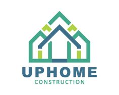 Up Home is an abstract logo in the shape of houses together with arrows with the blue and green colors.( home, house, habitat, building, construction, real estate, arrow, crown, engineering, architecture).