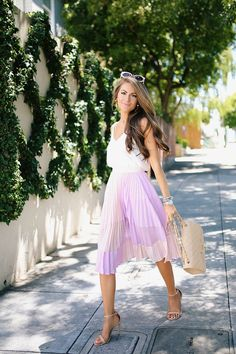 pleated midi skirt, white tank, neutral accessories