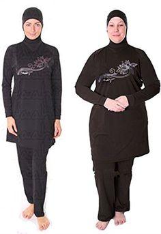 8fc7be396ff8 Modest Swimwear Full Body Islamic Swimsuit for Women Burkini Full Cover -  Black (Int'l - - Oversize)