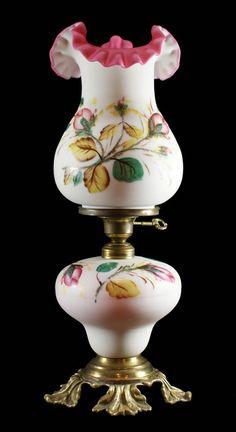 Vintage 1950's FENTON LG WRIGHT Peach Blow Cased Moss Rose 3-Way Art Glass Lamp