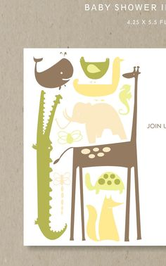 jungle animals  : baby shower invitation set