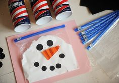 Squishy Snowman in a Baggie snowman party, holiday parties, activ, winter craft, snow party, spelling words, shaving cream, baggi, kid
