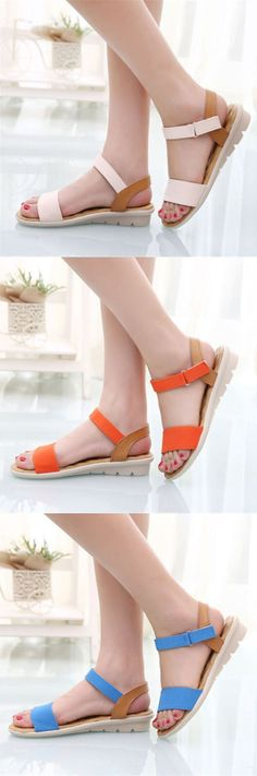 US$10.70  Casual Ankle Strap Low Heel Wedges Summer Beach Platforms Shoes