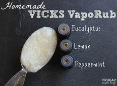 Homemade Vicks VaporRub - Clean Living Recipe featuring Eucalyptus, Lemon and Peppermint Oils. DIY Medicine Mixture on Frugal Coupon Living.