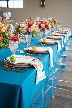 Guest table from an Urban Floral Baby Shower on Kara's Party Ideas | KarasPartyIdeas.com | Baby Shower Ideas| Urban Party Ideas #babyshowerideas #floralideas #karaspartyideas