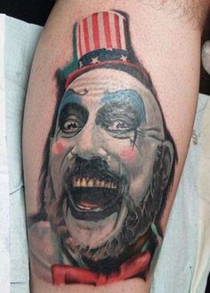 horror movie tattoos | Color Captain Spaulding, Devil's Rejects, forearm tattoo