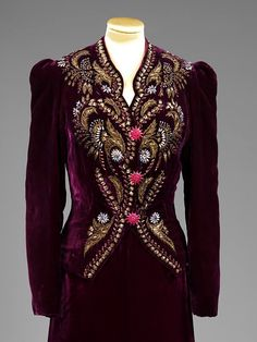 This jacket shows how Schiaparelli used historical and traditional embroideries, including magnificent ecclesiastical vestments, as sources of inspiration.