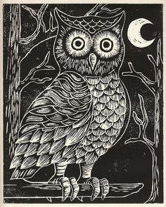 'Owl' by John Swick (lino)