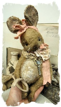 "One of a Kind Old Brown Chubby Mouset handmade by Wendy Meagher of Whendi's Bears - An Original ONE OF A KIND DESIGN  **Approx. 9"" Tall (10"" to tip of ears) - Antique Style Old Bown with white accents Mouse with vintage lace collar, bow from vintage pink shirting textiles"