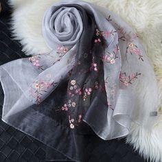 Items similar to Gradient Colour Silk Embroidered Scarf - Embroidery Silk Scarf -Embroidered Gradient Colour Scarf - Embroidered Silk and Wool Scarf - on Etsy Embroidery Scarf, Hand Embroidery Designs, Embroidery Patterns, Kurta Patterns, Diy Scarf, Embroidered Silk, Wool Scarf, Silk Scarves, Gradient Color