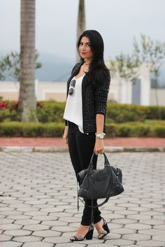 look casaqueto de lã salto alto fashion moda estilo style borboletas na carteira-7