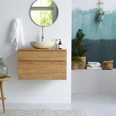 Waschtisch aus Teak 80 Jacob Raw Wood Furniture, Bathroom Furniture, Bathroom Interior, Furniture Design, Modern Furniture, Oak Vanity Unit, Vanity Cabinet, Hanging Cabinet, Wall Mounted Vanity