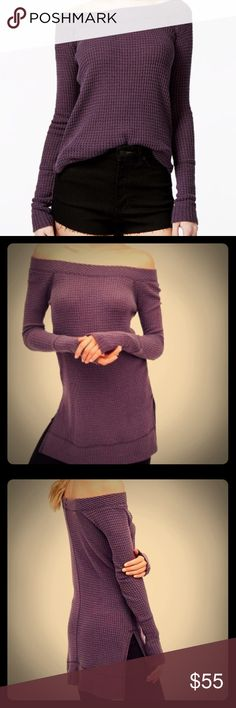 Free People Kate thermal Plum S Free People Kate thermal size S.   Only selling because i got in XS    Love this style color Plum deeper like first pic.  The stock photos look more purple.   I posted to show the style Zero flaws super soft ... Free People Tops Tunics