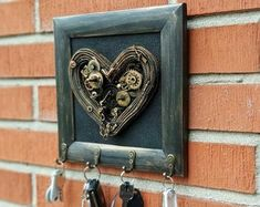Steampunk Decor valentines day decor valentines gift for Jewelry Frames, Jewelry Hanger, Hanging Jewelry, Steampunk Heart, Steampunk Necklace, Turtle Gifts, Steam Punk Jewelry, Steampunk Wedding, Valentines Gifts For Him