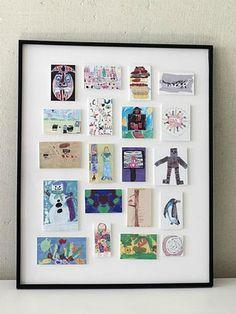 Artwork-display-Framed-art1.jpg (500×666) Kinderkunstwerke einscannen und verkleinern: so lässt sich eine tolle Collage erstellen, die weniger Platz braucht.