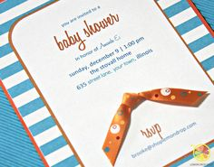 "Tangerine & Turquoise Stripe Printable Invitation Suite - NOW AVAILABLE WITH ""SANITIZE BEFORE YOU SQUEEZE"" favor label punches for a baby shower!"