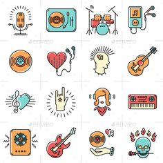 Line Art Music Icons Set Rock Punk Jazz Symbols by decobrush Thin lines music icons set. Rock music band, punk rocker, skull icon, notes, instruments, guitar, dj. Vector music illustration