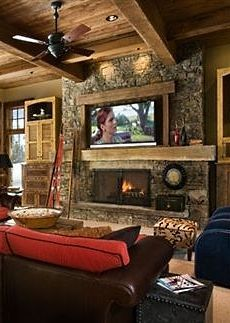 This is a vent-free fireplace, so there's not actually a chimney behind the stone facing. Description from houzz.com. I searched for this on bing.com/images
