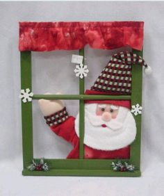 Window Decorations for Christmas : Crafty Christmas Window Crafthubs Christmas Frames, Office Christmas, Christmas Signs, Christmas Projects, Christmas Time, Christmas Wreaths, Christmas Ornaments, Cute Christmas Decorations, Santa Decorations