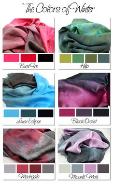 Colors-of-Winter great color combos for dying scarves