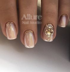 Pretty pink pearl and sparkle accent nails