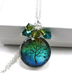 Glass Tile Dome Swarovski Crystal Cluster Pendant - Tree of Life