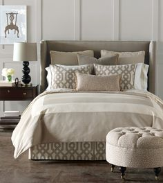 gray+imperial trellis. Love the matching bed skirt and pillows.