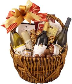 Designed for wine lovers this Gourmet Wine Gift Basket is designed in classic fashion. Featuring two California Chardonnays and a California Merlot there is much to enjoy in this gift basket for anytime of year. Alcohol Gift Baskets, Liquor Gift Baskets, Dyi Gift Baskets, Themed Gift Baskets, Alcohol Gifts, Gourmet Gift Baskets, Raffle Baskets, Wine Baskets, Christmas Gift Baskets