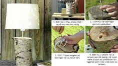 DIY- Lamp made ​​from wood stump!  Can't get much more country than this!