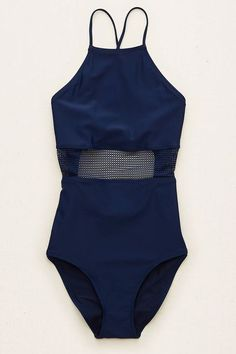 """Your Spring Break Packing List, Solved #refinery29  http://www.refinery29.com/spring-break-basics-packing-list#slide-1  A sleek, one-piece swimsuit works in the water and beyond. Wear it solo on the beach, and let it double as a bodysuit come evening when paired with skirts, shorts, and flowy pants.Aerie Mesh One-piece Swimsuit, $44.95, available at <a href=""""https://www.ae.com/women-aerie-mesh-one-piece-swimsuit-navy/aerie/s-prod/0751_8974_410?cm=sUS-cUSD&catId=womens&origProdId=075...."""