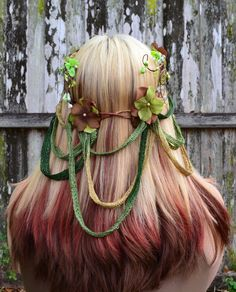 Woodland Bridal Hair Wreath - Elven flower crown - Green and brown head piece. $55.00, via Etsy.