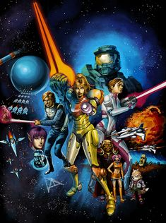 Star Wars poster with various Video Game Characters Star Wars Poster, Star Wars Art, Fanart, Samus Aran, Metroid Samus, Star Fox, Gamers, Epic Art, Old Video