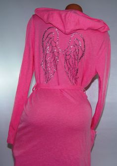 Victoria's Secret Very Sexy Pink Robe Kimono with Dream Angels Wings M Bling | eBay